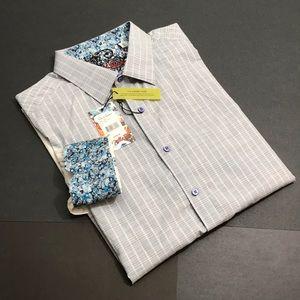 ROBERT GRAHAM Cano Men's XL Gray Stripes LS Shirt